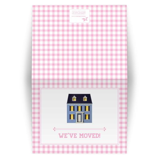 Housewarming Moving Card - Pink Gingham Dollhouse