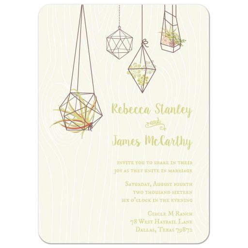 Air plants and succulent terrariums wedding invitations