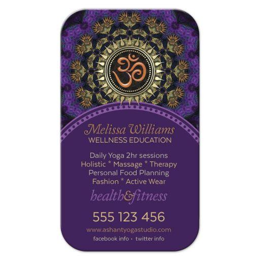 Purple Orange Om Yoga Business Card template