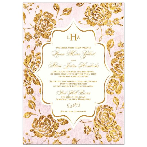 best blush pink, ivory and gold floral wedding invitation