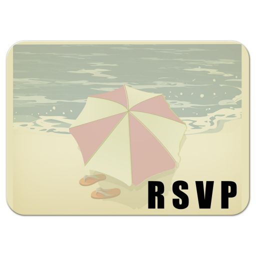 Cute Flip Flops On a Beach Wedding Response Card