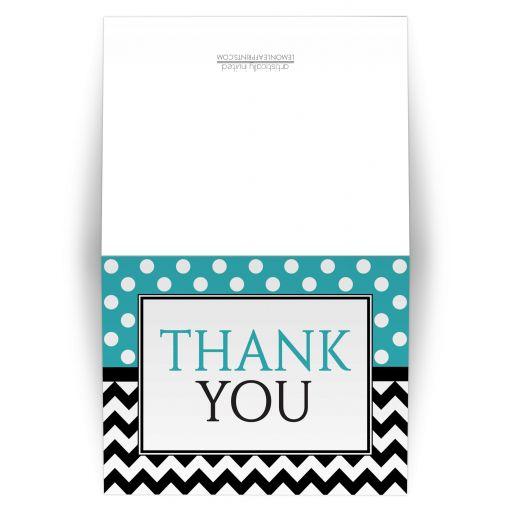 Thank You Cards - Polka Dot Turquoise & Chevron
