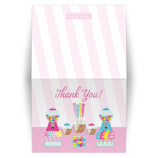 Sweet candy buffet folded thank you card