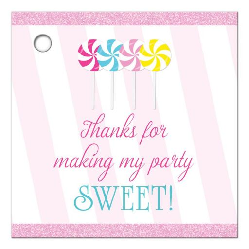 Sweet candy buffet lollipops thank you favor gift tags