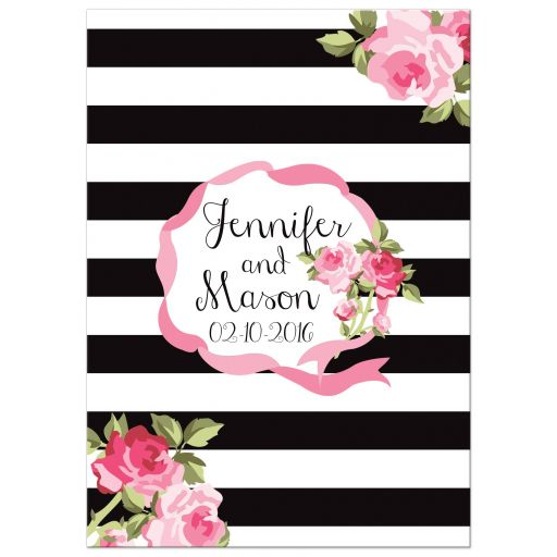 Black stripes and pink roses chic wedding invitation