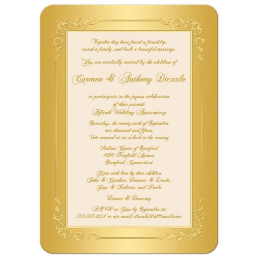 great Golden Wedding Anniversary Invite