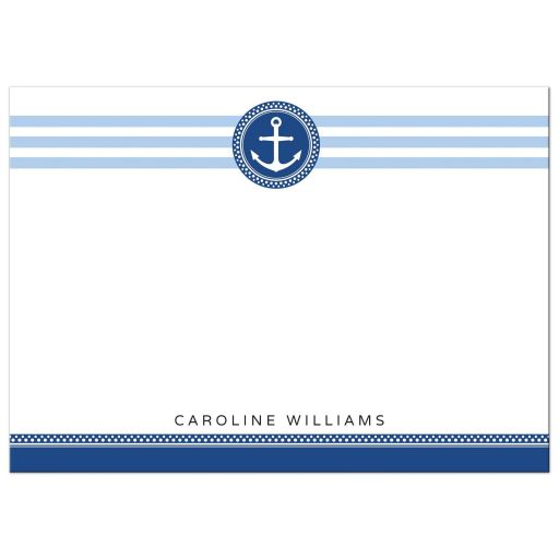 Personalized flat note cards with navy blue and white anchor emblem.