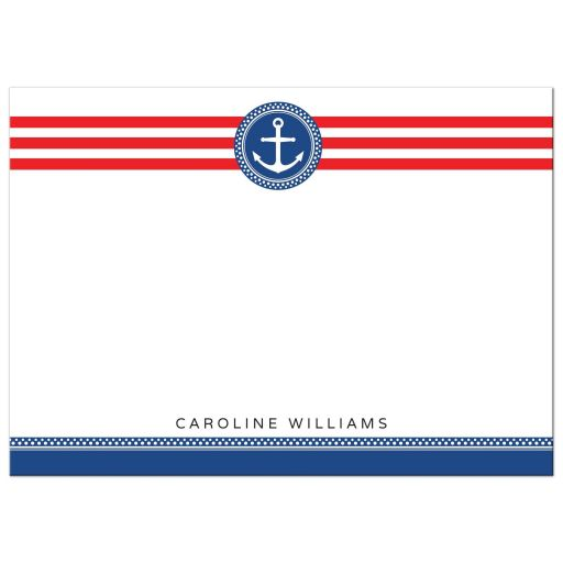 Flat, personalized note card with navy blue anchor emblem and red stripes