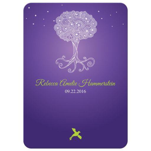 Ornate Tree of Life Purple Bat Mitzvah invitation back