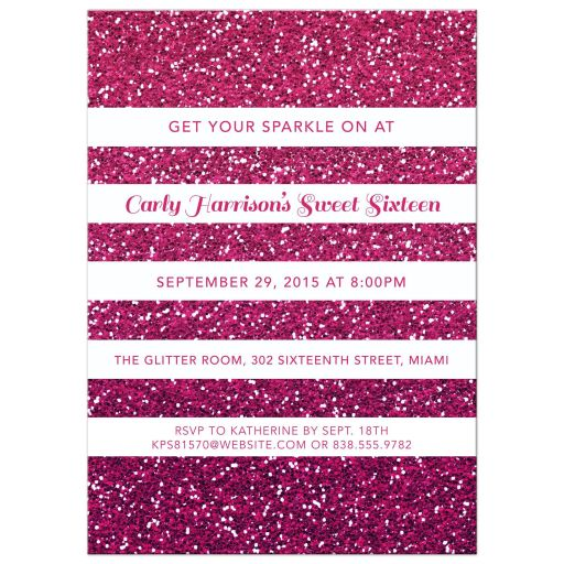 Pink Ombre Glitter Striped Sweet 16 Party Invitation