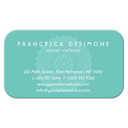Serene Impression Ornamental Aquamarine Business Card