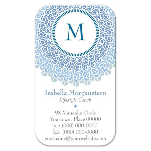 Concentric Blues Monogram Business Card