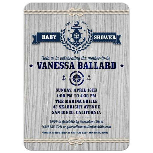 Rustic Weathered Wood Nautical Baby Shower invitation