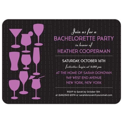 Raining Cocktails Purple Bachelorette Party invitation