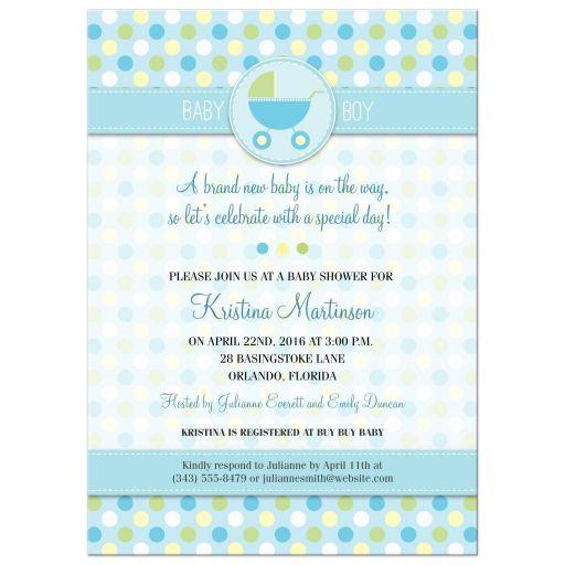 Polka Dot Pram Blue Baby Shower Invitation
