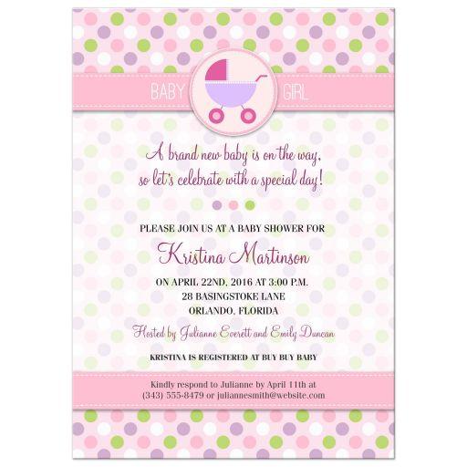 Polka Dot Pram Pink Baby Shower invitation
