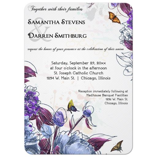 Purple Flowers And Butterflies Formal Wedding Invitation