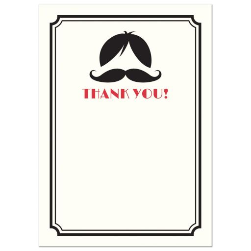Wig and handlebar mustache flat thank you note card