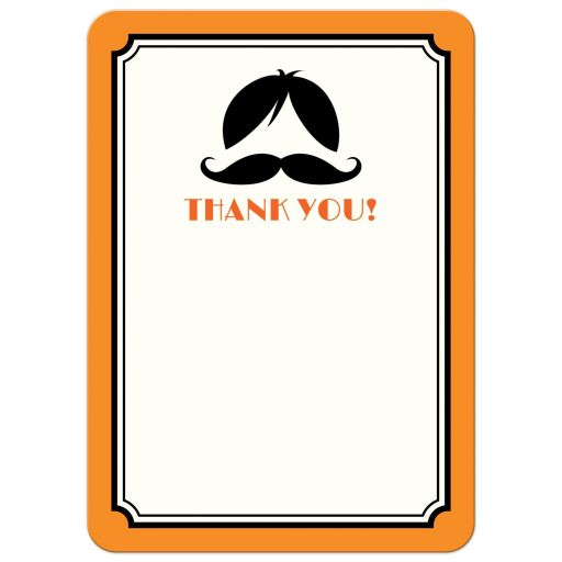 Orange and black wig and mustache birthday party bash thank you note card