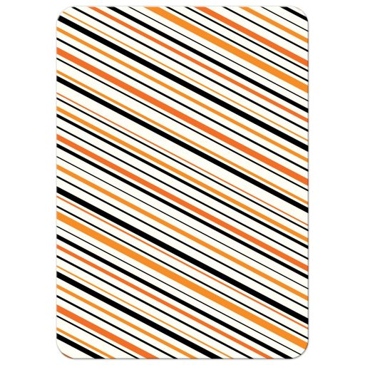 Striped back of orange and black moustache thank you note card