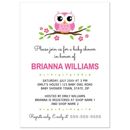 Cute girl baby shower invite with cartoon owl