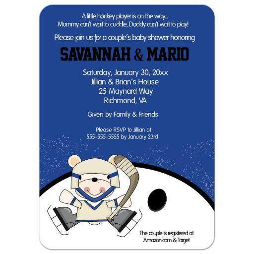 Polar Bear Hockey Sports Invitation