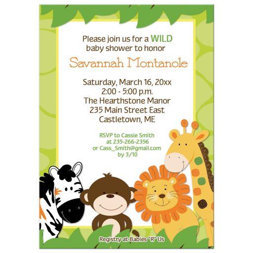 Bright Jungle Safari Baby Shower Invitation