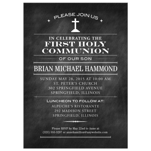 Chalkboard First Holy Communion invitation