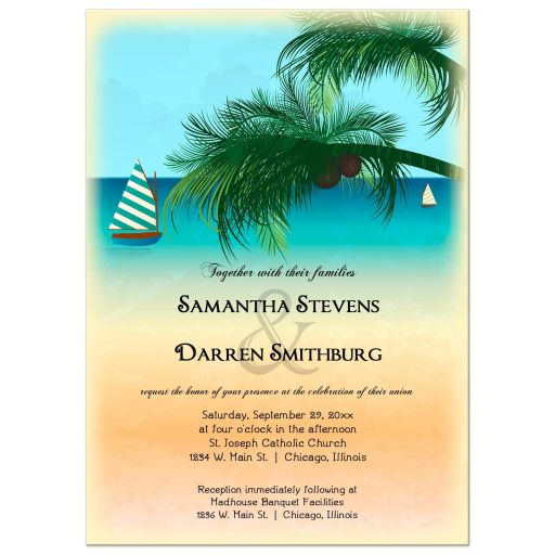 Retro Inspired Postcard Beach Scene Wedding Invitation