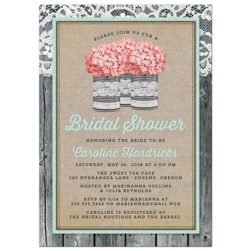 Rustic Tin Can & Hydrangea Bridal Shower Invitations front