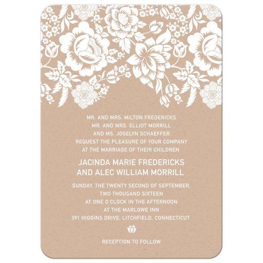 Modern Ecru Floral Damask Wedding invitation