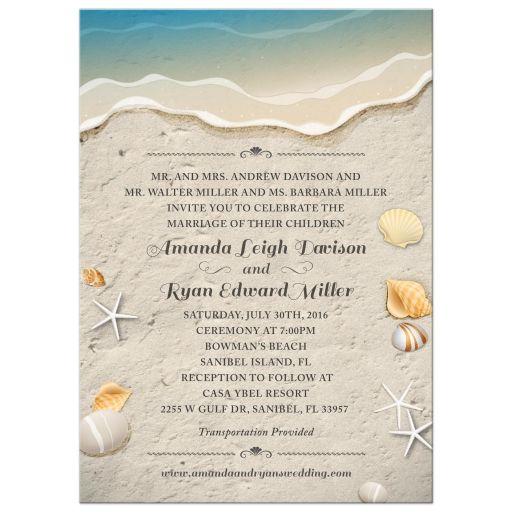 Waters Edge Shells and Sand Beach Wedding invitation