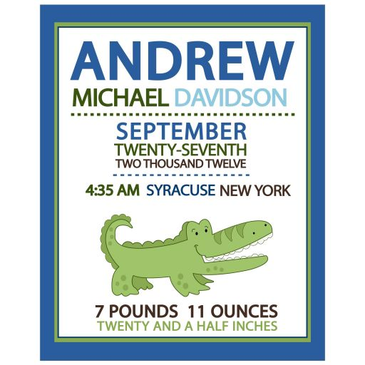 Alligator Blue and Green Baby Boy Customized Birth Announcement Wall Art