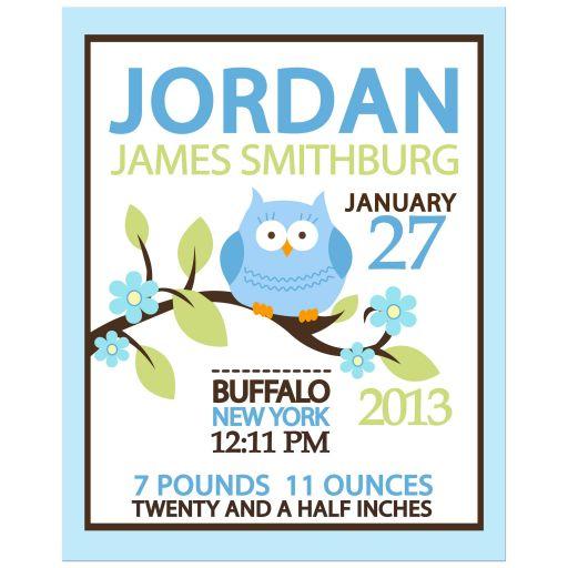 Owl Woodland Blue Boy Birth Announcement Print