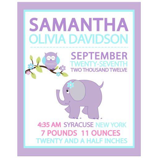 Purple Elephant and Owl Girl Woodland Custom Birth Announcement Wall Print