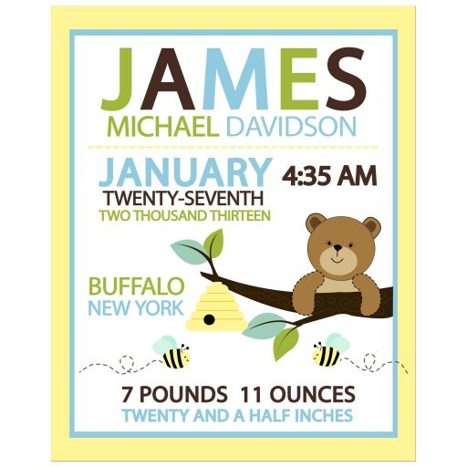 Honey Bear and Bumble Bee Customized Baby Birth Announcement Print