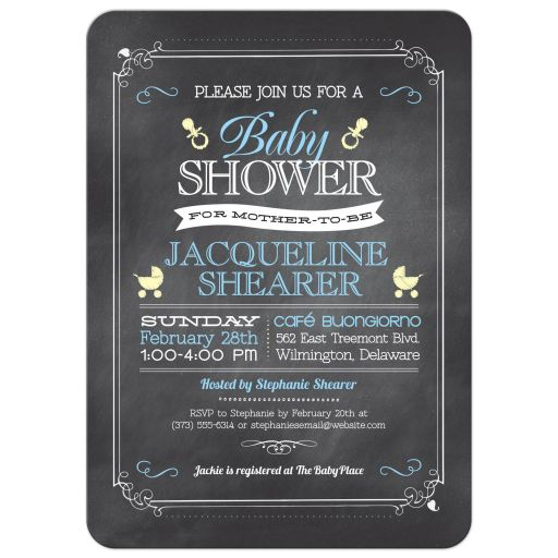 Whimsical Chalkboard Blue Baby Shower invitation