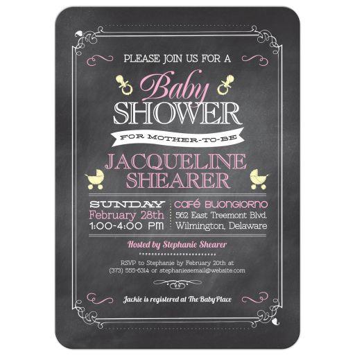 Whimsical Chalkboard Pink Baby Shower invitation