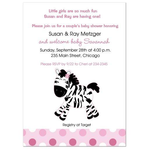 Pink Zebra Girl Baby Shower Invitation
