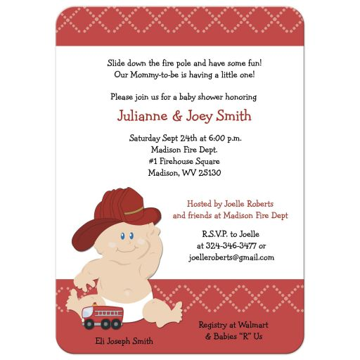 Baby Fire Fighter Baby Shower Invitation