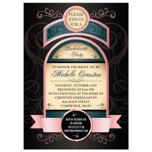 Liquor Bottle Label Pink Bachelorette Party invitation