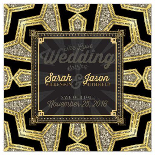 Art Deco Black Gold Glam Invitation