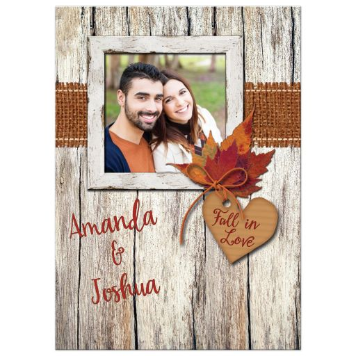 Best rustic country autumn wedding invitation with photo, burlap and leaves