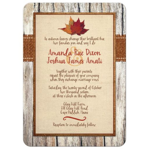 Great autumn wedding invite with fall leaves, burlap, wood, and photo template