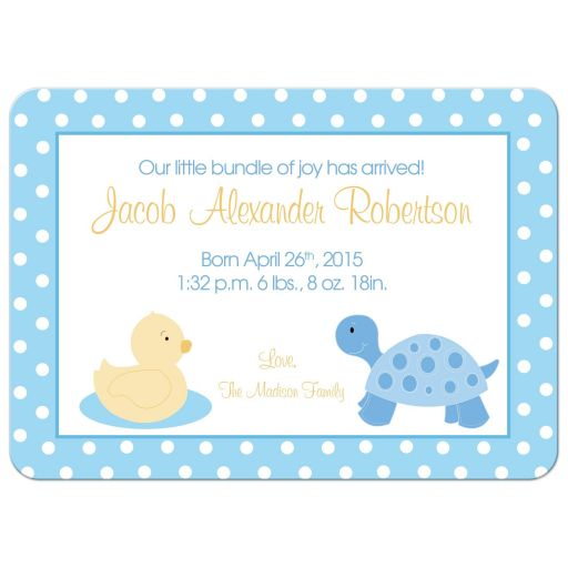 Duck and Turtle Birth Announcement