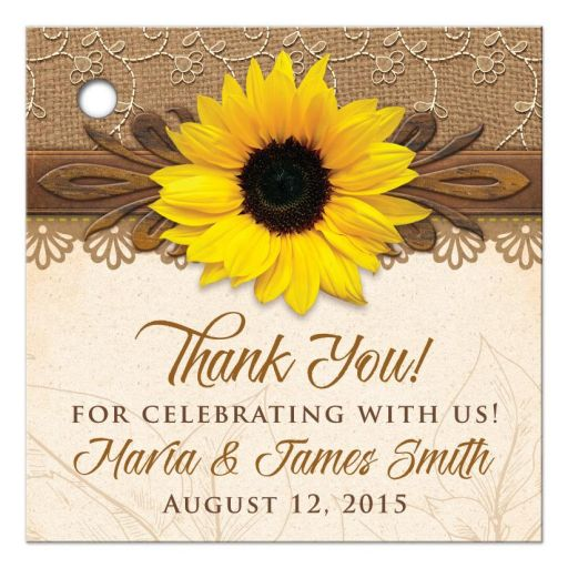 Rustic lace, burlap, wood and yellow sunflower country wedding thank you favor tags front