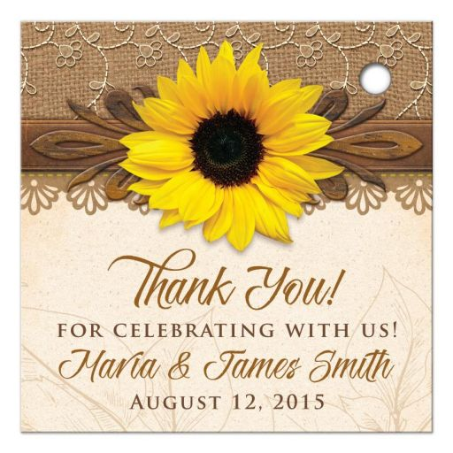 Rustic lace, burlap, wood and yellow sunflower country wedding thank you favor tags back