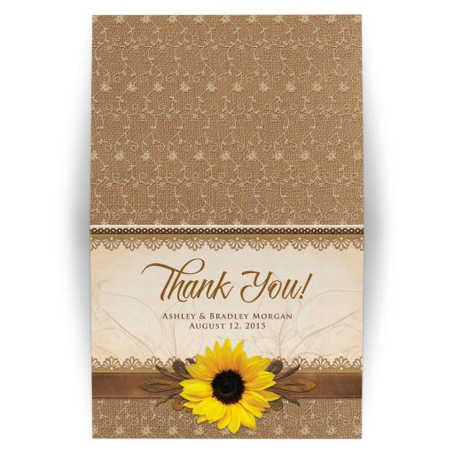 Rustic lace, burlap, wood and yellow sunflower country wedding thank you card