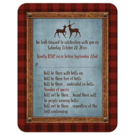 Best rustic plaid hipster wedding rsvp card with deer and denim