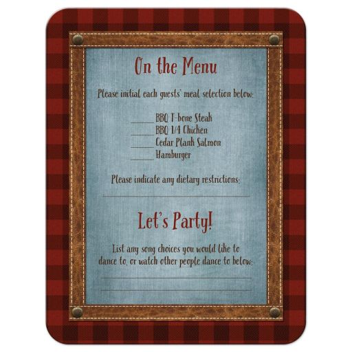 Great outdoors wedding reply card with red plaid, deer and denim